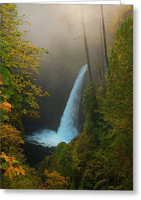 Waterfall Greeting Cards - Metlako Falls in Autumn Greeting Card by Alvin Kroon