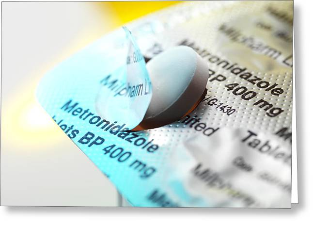 Antibiotics Greeting Cards - Metronidazole Antibiotic Blister Pack Greeting Card by Tek Image
