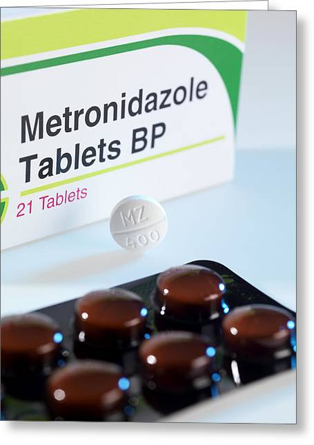 Antibiotics Greeting Cards - Metronidazole Antibiotic Pills Greeting Card by Tek Image