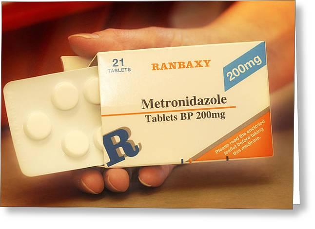 Antibiotics Greeting Cards - Metronidazole Antibiotic Pills Greeting Card by Tim Vernonlth Nhs Trust
