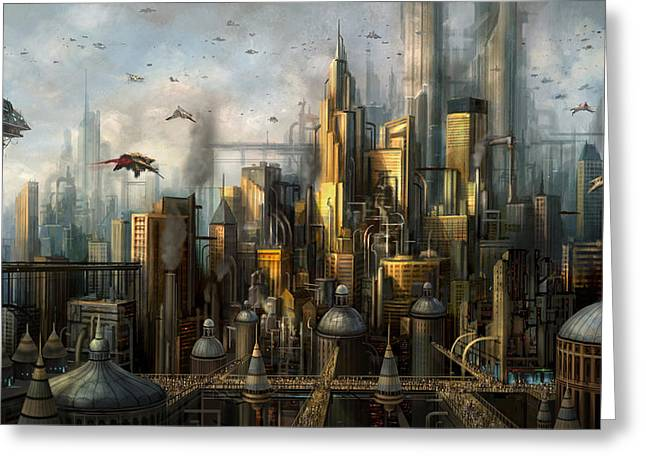Future World Greeting Cards - Metropolis Greeting Card by Philip Straub