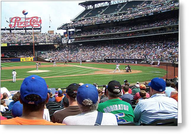 Citifield Greeting Cards - Mets game at CitiField Greeting Card by Suhas Tavkar