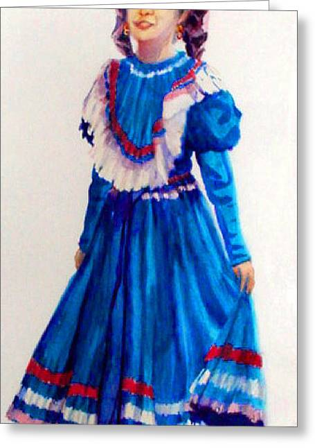 Mexco Srta In Blue Greeting Card by Estela Robles