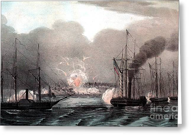 Beachhead Greeting Cards - Mexican-american War, Naval Bombardment Greeting Card by Photo Researchers