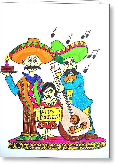 Celebration Pastels Greeting Cards - Mexican birthday Greeting Card by Amrita Dutta