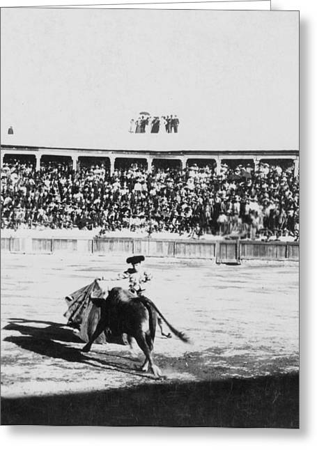 Mexican Fighters Greeting Cards - Mexican Bull Ring - c 1900 Greeting Card by International  Images