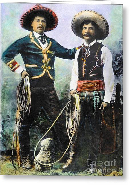 The American Buffalo Greeting Cards - Mexican Cowboys Greeting Card by Granger