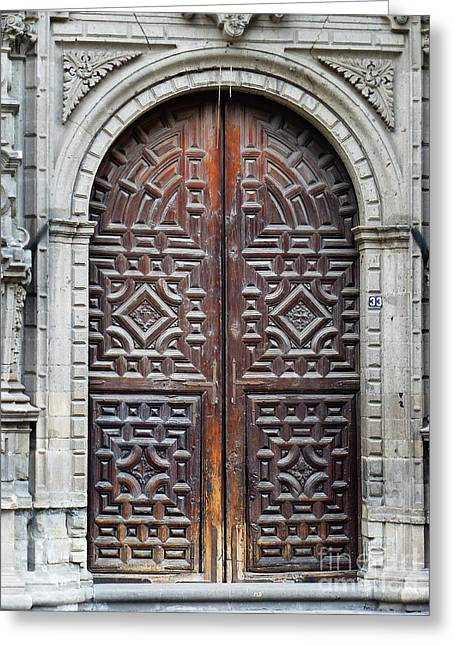 Historic Architecture Greeting Cards - Mexican Door 8 Greeting Card by Xueling Zou
