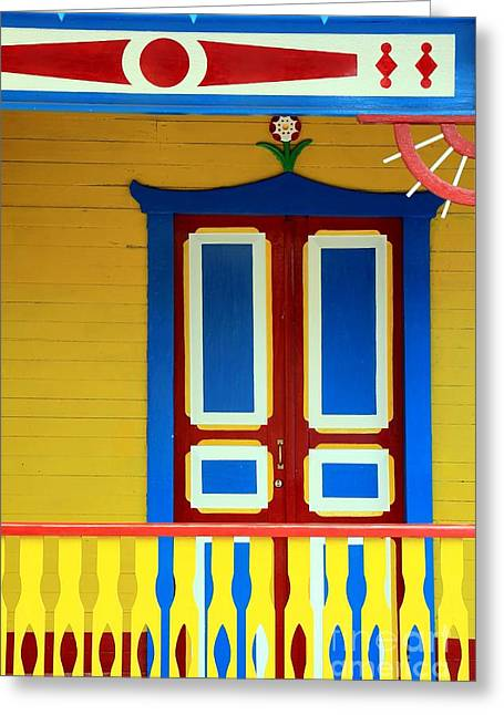 Isla Mujeres Greeting Cards - Mexican Facade Greeting Card by Sophie Vigneault