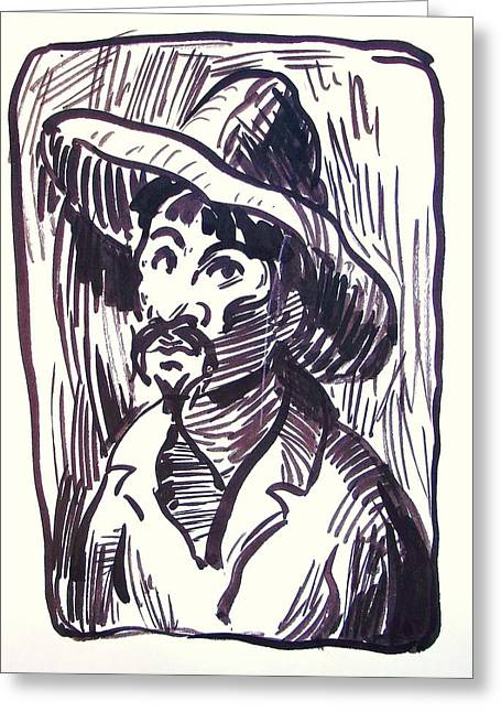 Charro Hat Greeting Cards - Mexican Man with Hat Greeting Card by Bill Joseph  Markowski