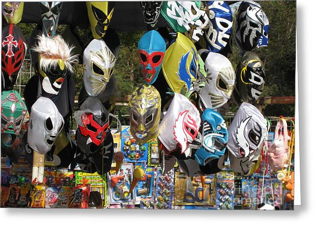 Mexican Fighters Greeting Cards - Mexican Masks Greeting Card by Stav Stavit Zagron