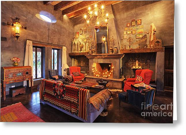 Wall Table Greeting Cards - Mexican Ranch Sitting Room Greeting Card by Jeremy Woodhouse