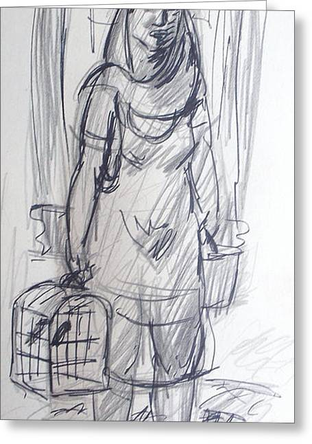 Apron Drawings Greeting Cards - Mexican Woman Greeting Card by Bill Joseph  Markowski