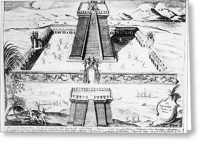 Mexico City Greeting Cards - Mexico: Aztec Temple, 1765 Greeting Card by Granger