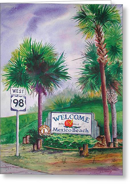 Florida Panhandle Paintings Greeting Cards - Mexico Beach sign on 98 Greeting Card by Chuck Creasy