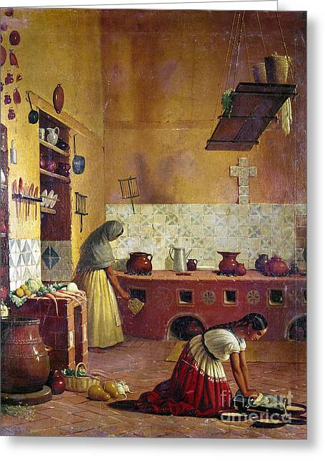 Knelt Photographs Greeting Cards - MEXICO: KITCHEN, c1850 Greeting Card by Granger