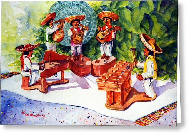 Mexicano Greeting Cards - Mexico Mariachis Greeting Card by Estela Robles
