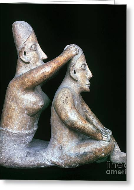 Woman Head Sculpture Greeting Cards - Mexico: Totonac Figures Greeting Card by Granger