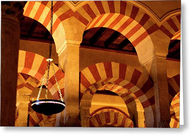 Southern Province Greeting Cards - Mezquita Arches Greeting Card by Lorraine Devon Wilke