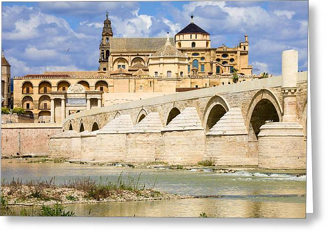 Cordoba Greeting Cards - Mezquita Cathedral and Roman Bridge in Cordoba Greeting Card by Artur Bogacki