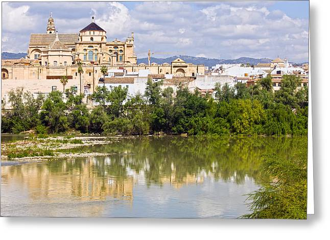 Cordoba Greeting Cards - Mezquita Cathedral by the River in Cordoba Greeting Card by Artur Bogacki