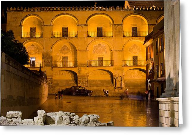 Mezquita Greeting Cards - Mezquita Facade at Night Greeting Card by Artur Bogacki