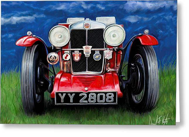 English Car Greeting Cards - MG TA Sports Car Greeting Card by David Kyte