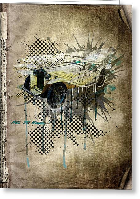 Rare Mixed Media Greeting Cards - MG TC Roadster Greeting Card by Svetlana Sewell