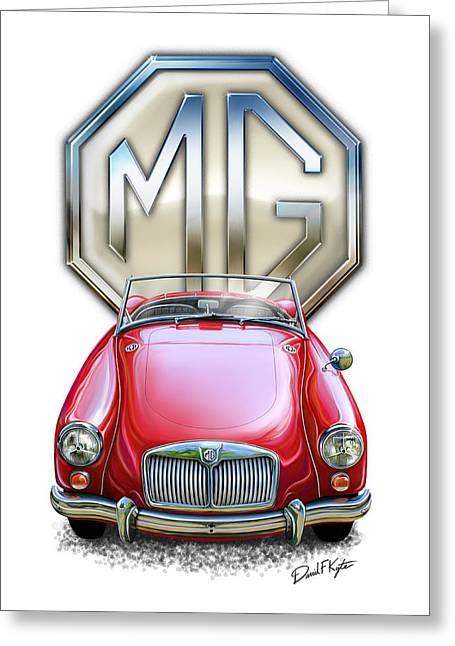 British Car Greeting Cards - MGA Sports Car in Red Greeting Card by David Kyte