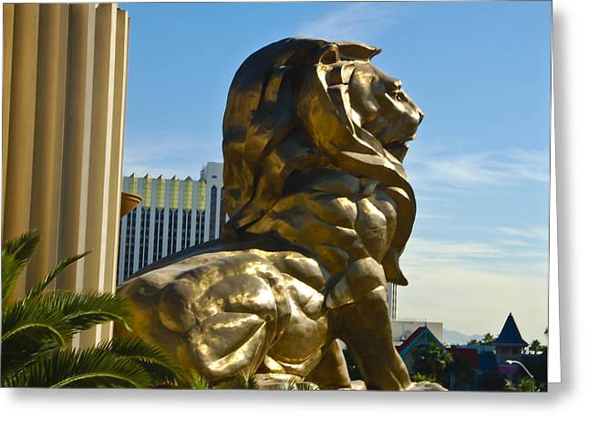 Mgm Greeting Cards - MGM Grand Hotel Lion Greeting Card by Jon Berghoff