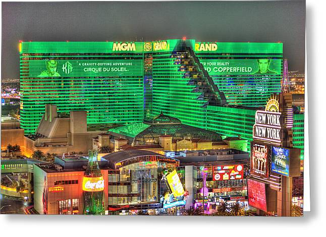 Renaissance Center Greeting Cards - MGM Grand Las Vegas Greeting Card by Nicholas  Grunas