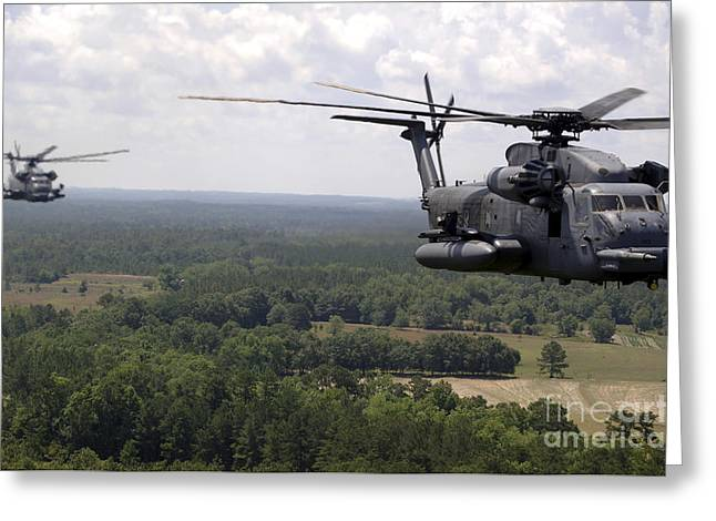 Low Wing Photographs Greeting Cards - Mh-53 Pave Low Helicopters Greeting Card by Stocktrek Images