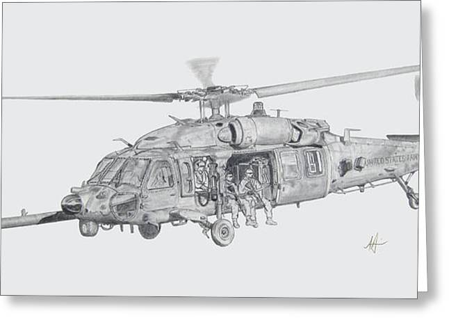 Helicopters Greeting Cards - MH60 with gun Greeting Card by Nicholas Linehan
