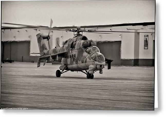 Whiteman Greeting Cards - Mi-24 Hind D  Greeting Card by Lamyl Hammoudi