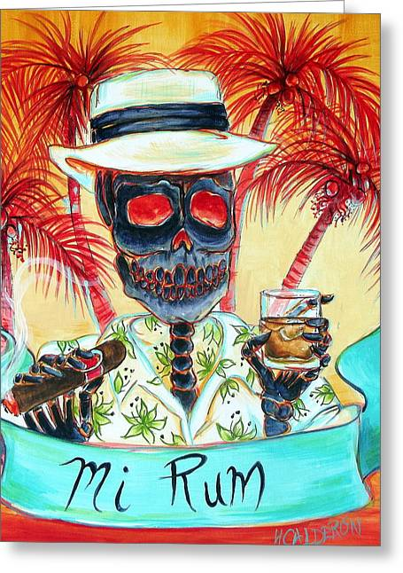 Miami Paintings Greeting Cards - Mi Rum Greeting Card by Heather Calderon