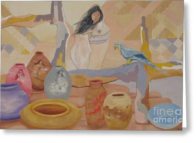 Indian Vase Greeting Cards - Mi Venta  Greeting Card by Ubelia Vasquez