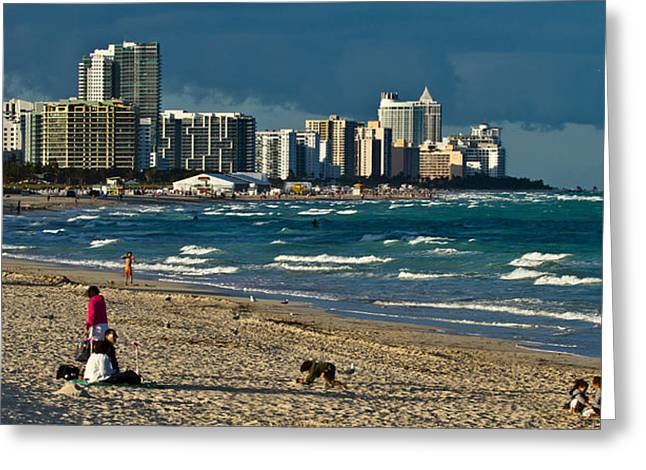 Miami Photographs Greeting Cards - Miami Beach Afternoon Skyline  Greeting Card by Andres Leon