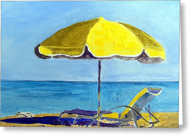 Recently Sold -  - Lounge Paintings Greeting Cards - Miami Beach Waiting for You Greeting Card by Maria Soto Robbins