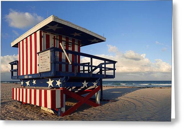 Flag Of Usa Greeting Cards - Miami Beach Watchtower Greeting Card by Melanie Viola