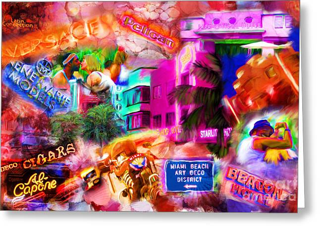 Miami Deco Greeting Card by Marilyn Sholin