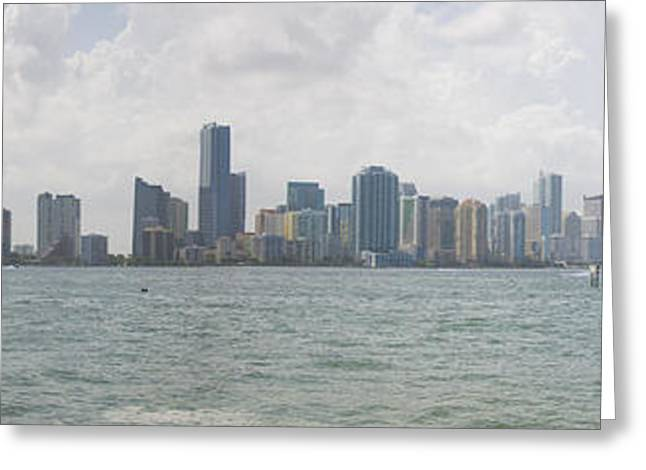Recently Sold -  - Ocean Panorama Greeting Cards - Miami Skyline Greeting Card by Jessica Brooks
