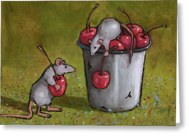 Mouse Pastels Greeting Cards - Mice Stealing Cherries Greeting Card by Joyce Geleynse