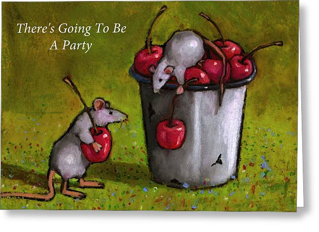 Mouse Pastels Greeting Cards - Mice With Cherries Party Invitation Greeting Card by Joyce Geleynse