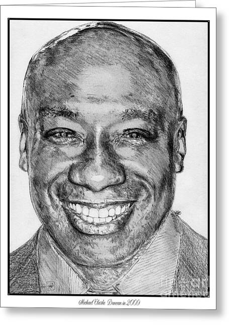African-american Drawings Greeting Cards - Michael Clarke Duncan in 2009 Greeting Card by J McCombie