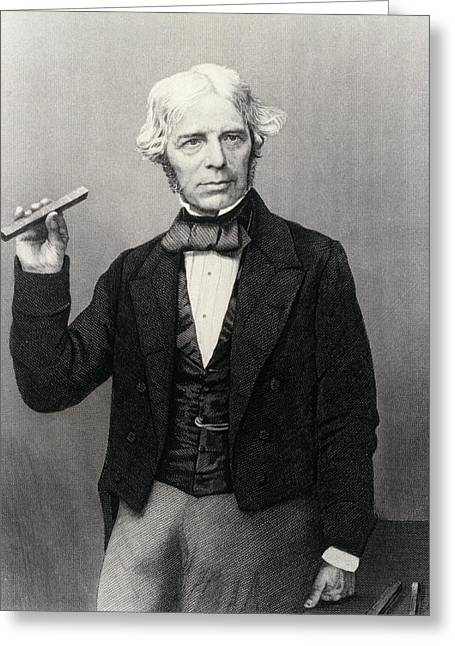 Dynamos Greeting Cards - Michael Faraday Holding Glass Bar Greeting Card by National Library Of Medicine
