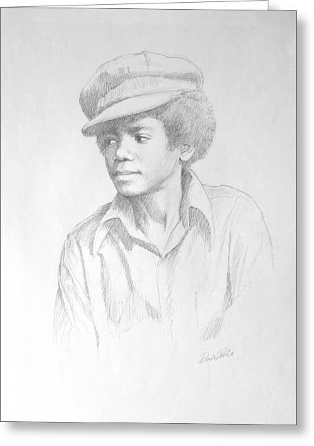 African American Drawings Greeting Cards - Michael In Cap Greeting Card by David Price