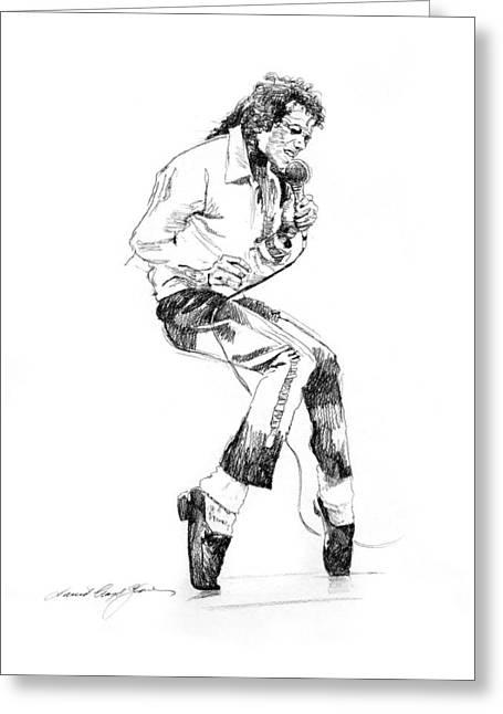 Dancing Drawings Greeting Cards - Michael Jackson - King of Pop Greeting Card by David Lloyd Glover