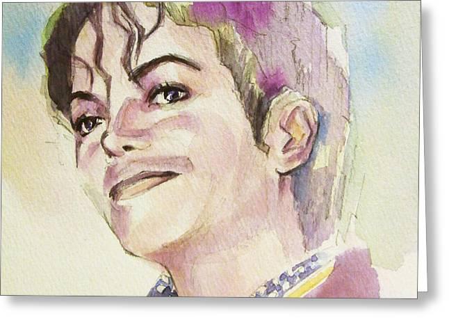 Michael Jackson - Mike Greeting Card by Hitomi Osanai