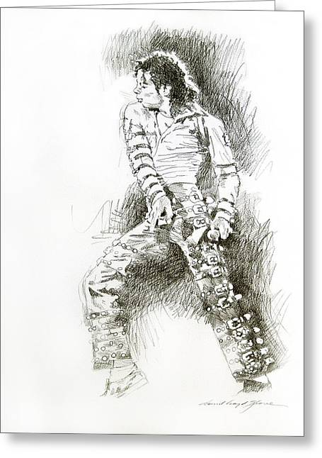 Most Favorite Drawings Greeting Cards - Michael Jackson - Onstage Greeting Card by David Lloyd Glover