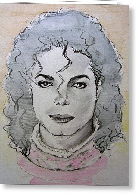 Recently Sold -  - Mj Drawings Greeting Cards - Michael Jackson - Planet Michael Greeting Card by Hitomi Osanai